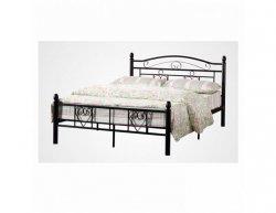 Černá kovová postel s lamelovým roštem BRITA, 160x200 cm