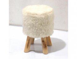 Designový taburet ALPIA, bílá/borovice