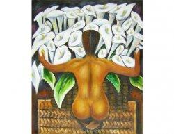 Obraz - Muž s náručí květin