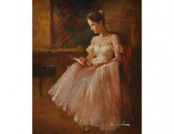 Obraz - Sedící žena s květinou
