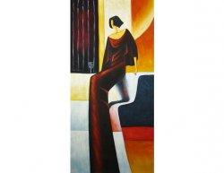 Obraz - Sedící žena se sklenkou