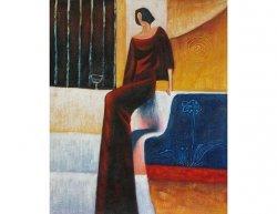 Obraz - Žena v růdých šatech