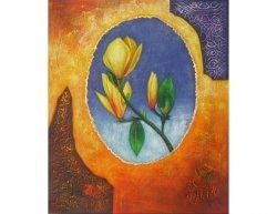 Obraz - Žlutá růže v oválu