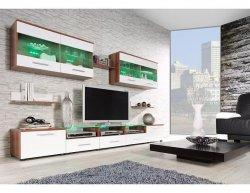 Obývací stěna Cama I s LED osvětlením, švestka / bílý lesk