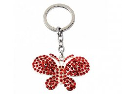 Přívěsek na klíče, červený motýl