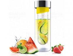 Skleněná láhev s infuserem ASOBU Flavour It yellow/silver 480ml
