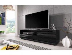 Televizní stolek Muza, černá-černý lesk