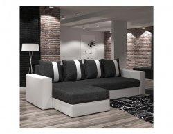 Univerzální sedací souprava, celočalouněná, rohová s úložným prostorem, bílá / tmavě šedá, TOBIAS