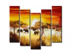 Vícedílné obrazy - Sloni v západu