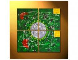 Vícedílné obrazy - Zelená abstrakce