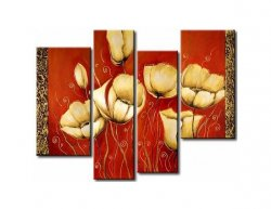 Vícedílné obrazy - Zlaté květy