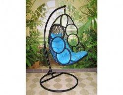 Závěsné relaxační křeslo SEWA, modrý sedák