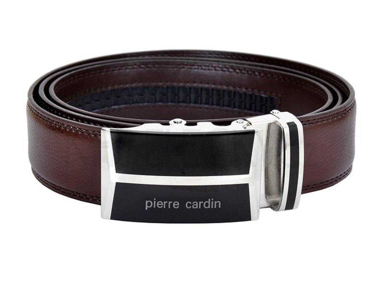 cc97ad263f4 Hnědý kožený pánský opasek Pierre Cardin 5052