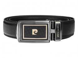 Černý kožený pánský opasek Pierre Cardin Apolon - 120 cm