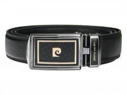 Černý kožený pánský opasek Pierre Cardin Apolon