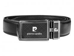 Černý kožený pánský opasek Pierre Cardin Marlon - 130 cm