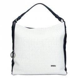 Dámská kožená kabelka Facebag Margaret - bílo-modrá