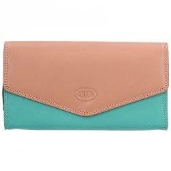 Dámská kožená peněženka DD Anekta Selma - růžovo-zelená