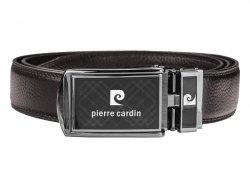 Hnědý kožený pánský opasek Pierre Cardin Claude