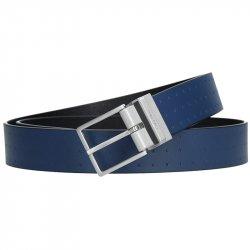 Modrý kožený pánský opasek Calvin Klein Vitel - modrá