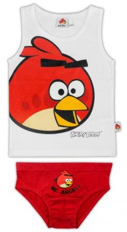 E plus M Chlapecký set tílka a slipů Angry Birds - bílo-červený, 128 cm