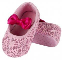 SOXO® Dívčí capáčky/balerínky s mašlí - růžové, EUR 16-18