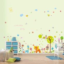 Walplus Samolepky na zeď Barevné kytičky a malý slon, 250x150 cm